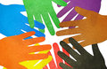 Multicolored hands a group of hand cut out of paper on a white background Royalty Free Stock Photos
