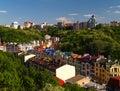 Multicolored houses kiev ukraine among the green trees Royalty Free Stock Photos