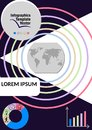 Multicolored infographic vector template with geography elements, world map, icons, copy space, black background Royalty Free Stock Photo