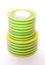 Multicolored insulating tapes on white background closeup of isolated Royalty Free Stock Images