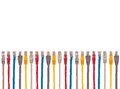 Multicolored internet cables are arranged parallel in a row. Royalty Free Stock Photo