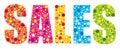 Multicolored joyful sales banner.