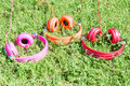Multicolored kit for mobile mp audio entertainment of three vivid colored headphones on summer sunny glade Royalty Free Stock Photography