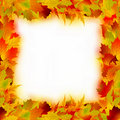 Multicolored maple leaves frame. EPS 8 Royalty Free Stock Photo