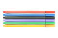 Multicolored markers on white background isolated Royalty Free Stock Photos