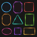 Multicolored neon vector border frames. Simple shapes of light banners