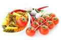Multicolored pasta and vegetables Royalty Free Stock Photo