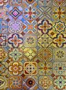 Multicolored patterned geometric tile floor Royalty Free Stock Photo