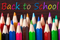 Multicolored pencils with back to school Royalty Free Stock Photos