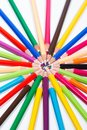 Multicolored pencils in circle colored arranged a image concept for business meeting social meeting social networking Stock Images