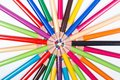 Multicolored pencils in circle colored arranged a image concept for business meeting teamwork networking Royalty Free Stock Photo
