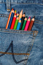 Multicolored pencils in pocket Royalty Free Stock Photo