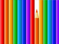Multicolored pencils on the white background Stock Photography