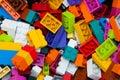 Childrens Designer Background. Multicolored plastic building blocks of the designer. Royalty Free Stock Photo