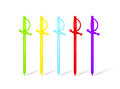 Multicolored plastic food skewers in rapier shape Royalty Free Stock Photo
