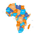 Multicolored political map of Africa continent with national borders and country name labels on white background. Vector
