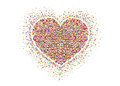 Multicolored rainbow confetti in the shape of a heart. Vector. Royalty Free Stock Photo