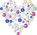 Multicolored rhinestones crystals in the form of heart Royalty Free Stock Photo