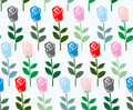 Multicolored roses seamless pattern. Vector flower background. F