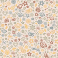 Multicolored seamless pattern of flowers leafs stars butterflies and hearts Stock Photos