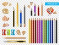 Multicolored Sharpened Pencils Transparent Set Royalty Free Stock Photo