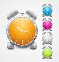 Multicolored shiny alarm clock icon design Stock Photos