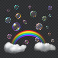 Multicolored soap bubbles rainbow and clouds transparent with glares transparency only in vector format can be used with any Stock Photography