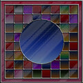 Multicolored stained glass with blank copyspace Stock Image