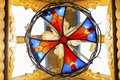 Multicolored stained glass window in the sun Royalty Free Stock Photo