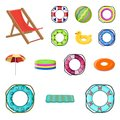 Multicolored swimming circle cartoon icons in set collection for design. Different lifebuoys vector symbol stock web Royalty Free Stock Photo