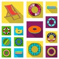 Multicolored swimming circle flat icons in set collection for design. Different lifebuoys vector symbol stock web Royalty Free Stock Photo