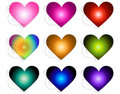 Multicolored Swirled Hearts Stock Photos