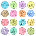 Multicolored Thin Line Icons Gardening Equipment