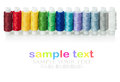 Multicolored threads isolated on a white background for example text and easily removed Royalty Free Stock Photography