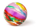 Multicolored toy rubber ball white background Stock Photography