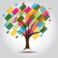 Multicolored tree for Business card Stock Image