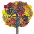 Multicolored tree icon. Stock Photo