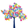 Multicolored tree on white background
