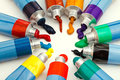 Multicolored tubes with squeezed watercolors several Royalty Free Stock Photo