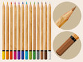 Multicolored vector pencils set of wooden Stock Photography