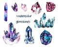 Multicolored watercolor gems on white isolated background