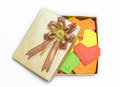 Multicolored weave hearts in golden gift box valentine Royalty Free Stock Images