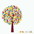 Multicolored Whimsical Tree birds in tree