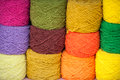 Multicolored yarn closeup of many clews isolated Stock Images