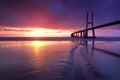 Multicolors bridge vasco da gama the longest in europe lisbon Royalty Free Stock Photo