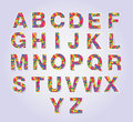 Multicolors polygon font set for your design Royalty Free Stock Images
