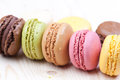 Multicolour french macaroons table Royalty Free Stock Photo