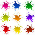 Multicoloured blots set of multicolored and sparks of a paint eps Stock Photos