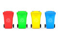 Multicoloured garbage trash bins on a white background Royalty Free Stock Images