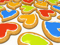 Multicoloured heart cookies Stock Photo